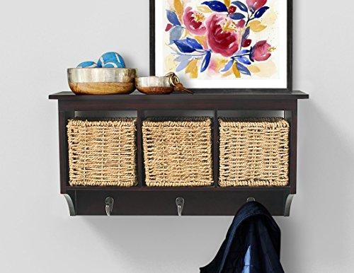 ging Cubby Shelf Coat Rack Storage Shelf with Seagrass Baskets, Espresso Brown ()