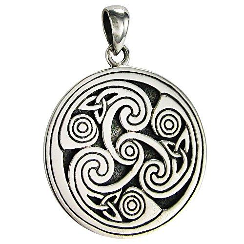 Triskele Silver Sterling (Sterling Silver Celtic Knot Triskele Triskelion Pendant)