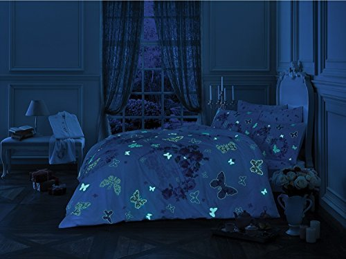 TAC Love & Roses Glow In the Dark Duvet Cover Set, 100% Cotton, Full / Double Size, 4 Pieces