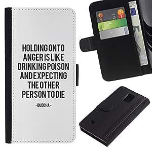 KingStore / Leather Etui en cuir / Samsung Galaxy Note 4 IV / Gardez le calme problème de motivation