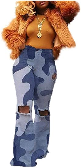 Romancly Womens Oversized Camo Ripped Hole Thin Flare Fashion Leg Pants