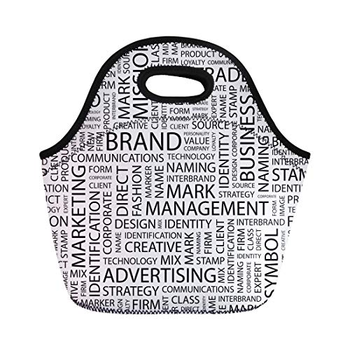 Semtomn Neoprene Lunch Tote Bag Marketing Brand Pattern Word Cloud Different Association Terms Trademark Reusable Cooler Bags Insulated Thermal Picnic Handbag for Travel,School,Outdoors,Work