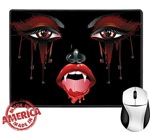 "Female Vampire Makeup (Luxlady Natural Rubber Mouse Pad/Mat with Stitched Edges 9.8"" x 7.9"" IMAGE ID: 37120024 Abstract female vampire face with festival eye makeup and red lips)"