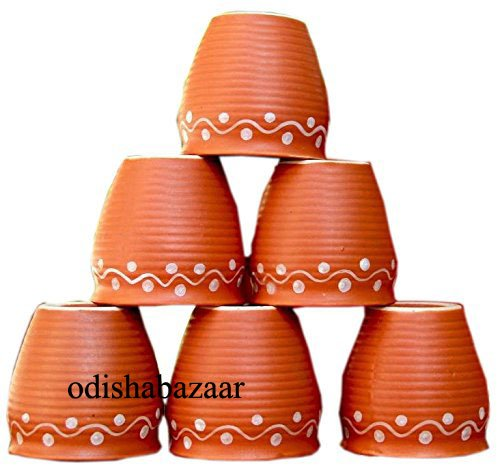 Creativegifts Ceramic 6 Pc Kulhar Kulhad Cups Traditional Indian Chai Tea Cup (2.7x2.2 inch) (color-2)