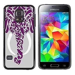 [Neutron-Star] Snap-on Series Teléfono Carcasa Funda Case Caso para Samsung Galaxy S5 Mini (Not S5), SM-G800 [Dibujo Elefante Arte Colmillo Gray]