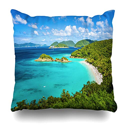 Kutita Decorativepillows Covers 18 x 18 inch Throw Pillow Covers, Trunk Bay St John United States Virgin Islands Pattern Double-Sided Decorative Home Decor Pillowcase -