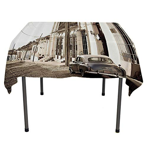 Old Car Decorations Polyester tablecloths an Old American Car in The Colonial Streets of Trinidad in Cuba Historical Picture Beige Washable Picnic Tablecloth Spring/Summer/Party/Picnic 60 by 84
