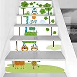 Stair Stickers Wall Stickers,6 PCS Self-adhesive,Nursery,Funny Cute Jungle Creatures Balancing on Each Other Animal Tower in Forest Decorative,Green Blue Orange,Stair Riser Decal for Living Room, Hall