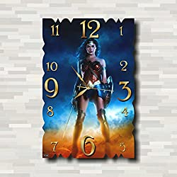 WONDER WOMAN CLOCK Quiet Sweep Movement Wall Clock Decorative Battery Operated 11 Inch x 17 Inch – for devoted fans of DC comics.