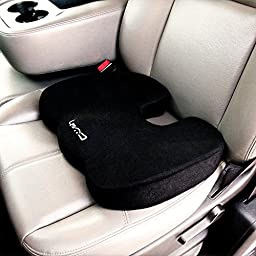 Memory Foam Seat Cushion by Cush Comfort - Non-Slip - Spinal Alignment Coccyx Chair Pad for Relief from Sitting Back Pain