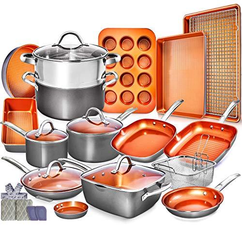 Home Hero Copper Pots and Pans Set -23pc Copper Cookware Set Copper Pan Set Ceramic Cookware Set Ceramic Pots and Pans…