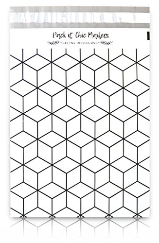 """[ 100-10"""" X 13"""" ] Geometric Cubes Pattern Custom Poly Mailer Envelope Shipping Bags, Tear Proof & Powerful Self Seal Adhesive Postal Bags (Other Designs Available) - Pack It ()"""