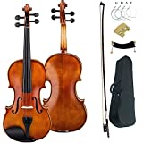 Leeche Solid wood Ebony Fitted Antique Violin Full Size 4/4 Gift Ideas for Beginner Kids Adults With Case, Bow, Shoulder Rest, Strings, Rosin, Bridge