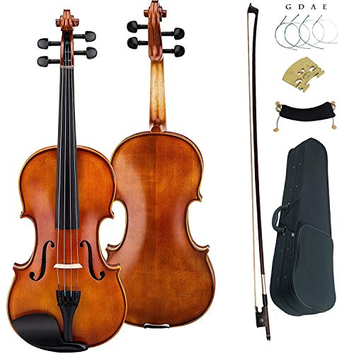 Leeche Solid wood Ebony Fitted Antique Violin Full Size 4/4 Gift Ideas for Beginner Kids Adults With Case, Bow, Shoulder Rest, Strings, Rosin, Bridge by Leeche
