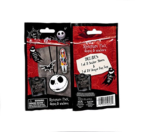 Disney Nightmare Before Christmas Sealed pack Dog Tag & stickers 12 sealed - Nightmare Stickers Christmas Before