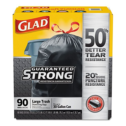 30 Gallon Drawstring - Clorox 78952 Drawstring Large Trash Bags, 30 X 33, 30gal, 1.05mil, Black, 90/carton
