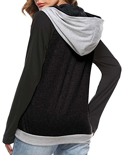 Anyu Blusa Slim Tops Camisas Fit Capucha Con Costura Mangas Largas Sudaderas Negro Mujer rfnxUPRwr