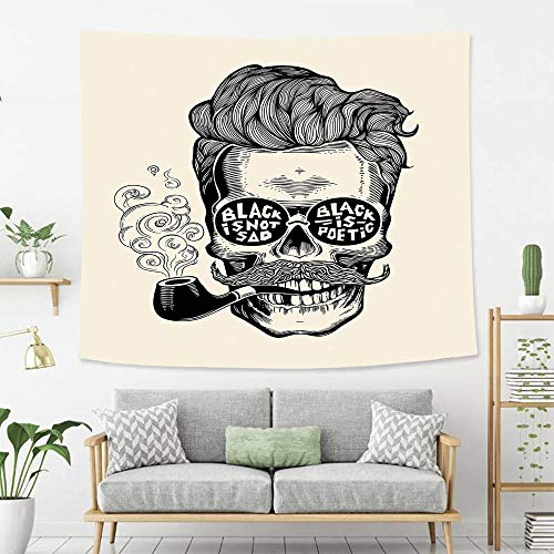 BEIVIVI Colorful Art Design Tapestry Indie Hipster Gentleman Skull with Mustache Pipe and Eyeglasses with Inscription Vintage Black Cream Polyester Fabric Tapestries for Bedroom Living Room Dorm