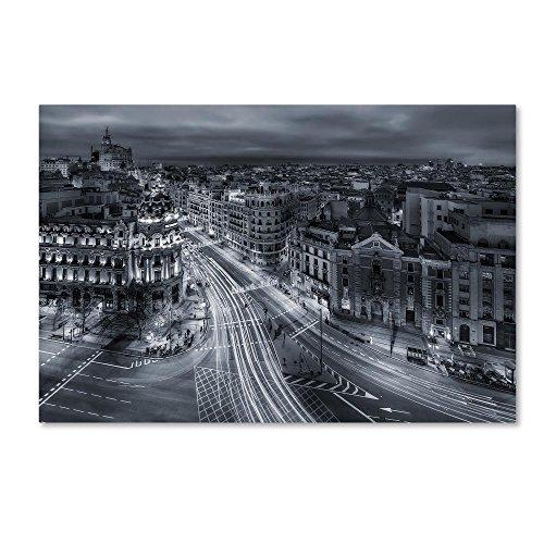 Trademark Fine Art Madrid City Lights by Javier De La, 22x32-Inch Canvas Wall Art by Trademark Fine Art