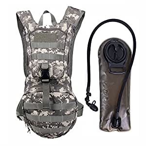 Tactical Hydration Pack Backpack 900D with 2.5L Bladder for Hiking, Biking, Running, Walking and Climbing (ACU)