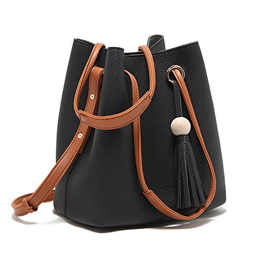Turelifes Tassel buckets Totes Handbag Women's casual Shoulder Bags Soft Leather Crossbody Bag 3 Back Method Purse (Black)
