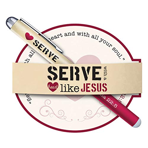 US Gifts Serve with a Heart Like Jesus Gift Pen with Notepad - 12/pk