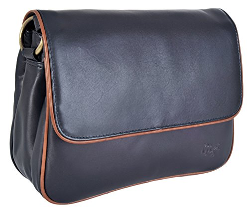 Gigi Leather Small Two - Tone Flap 3 Section Shoulder Handbag 1008A Navy / Mid Brown