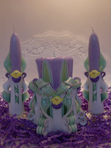 Easter Chick Candle Set (Purple and Green) ()