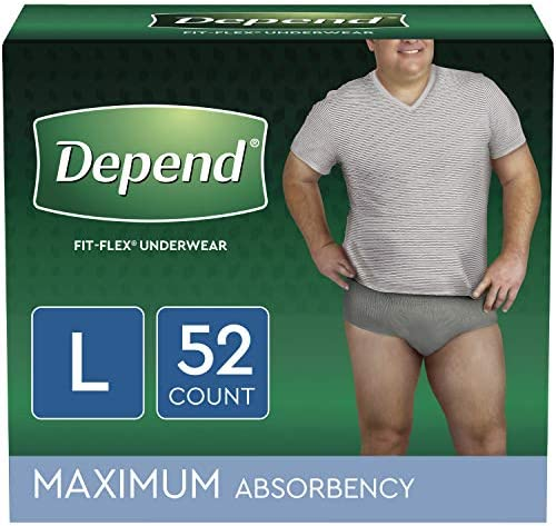 Depend FIT-FLEX Incontinence Underwear for Men, Maximum Absorbency, Disposable, Large, Grey, 52 Count (2 Packs of 26) (Packaging May Vary)