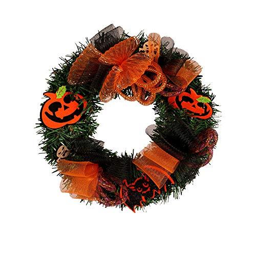 Morrivoe Halloween Large Wreath 30cm /12 inches Door Wall Ornament Pumpkin Skull Garland -