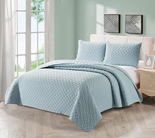 BEJIMD Reversible Microfiber Quilt Set Twin Size(68x86 inches) - Basket Weave Pattern, Lightweight & Hypoallergenic All-Season Ultrasonic Bedspread Coverlet Set, Stripe Blue (Basket Weave Patterns To)
