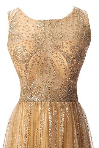 alta da circa collo dell'abito tulle lungo vestito party donna Champagne Ivydressing di qualità Bete Scheind Prodotto sera qT7w55