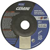 "Norton Gemini Depressed Center Abrasive Wheel, Type 27, Aluminum Oxide, 7/8"" Arbor, 5"""