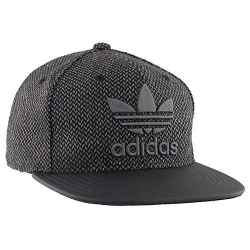 adidas Men's Originals Snapback Flat Brim Cap, Black Tweed/Black, One Size