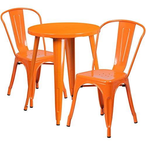 Flash Furniture 24'' Round Orange Metal Indoor-Outdoor Table
