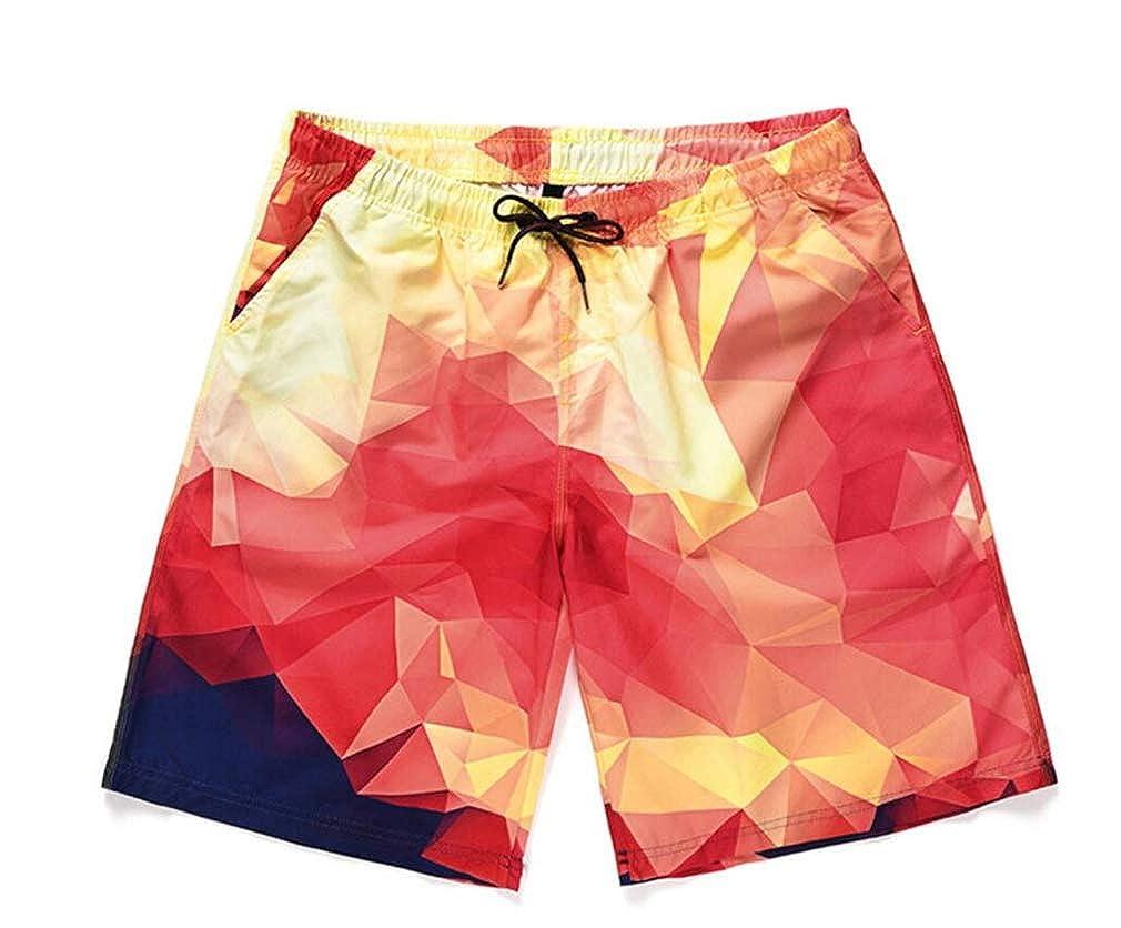 Swim Trunks Beach Shorts Mens Shorts Creative Printed Loose-Fit Swimsuit Summer