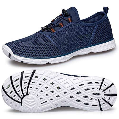 Aqua Water Shoes Mens-Quick Drying Walking Sand Hiking Water Shoes Barefoot Slip-on Water Jogging Shoes for Men Size 9 for Swim Beach Pool Surf Rafting Boating Navy/White 41 EU (Best Shoes For Sand And Water)