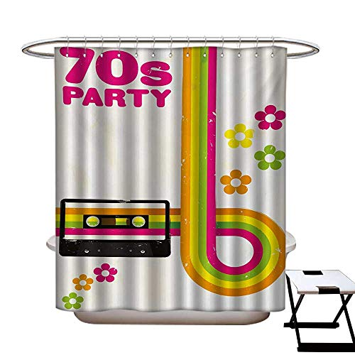 (BlountDecor 70s Party Shower Curtains Sets Bathroom Party Flyer Inspired Cute and Curved Stripes with Daisies Audio Cassette Tape Satin Fabric Sets Bathroom W69 x L70 Multicolor)