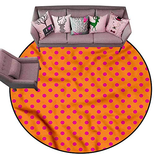 Designed Kitchen Bathroom Floor Mat Colorful Orange and Pink,Polka Dots Diameter 78