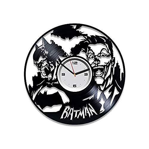SKGZT Wall Clocks and Clown Clock Gothic City Clock Vinyl Wall Clock Gift Gift Wall Clock Large Dc Comics Aken Knight Clown Gift]()
