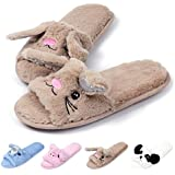 Caramella Bubble Women Open Toe Slippers | Cute Bunny Unicorn Animal Slipper | Soft Fleece Memory Foam Anti-Slip (9-10, BrownBunny)