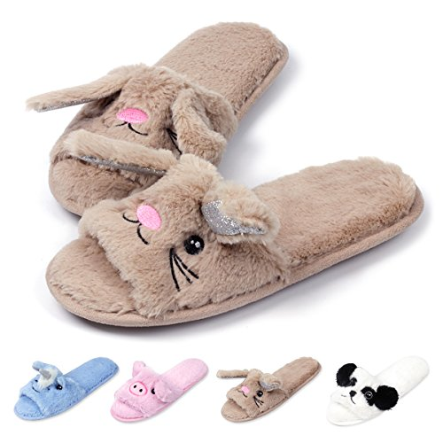 Open Toe Slippers for Women|Girls Cute Bunny Spa Slippers |Fuzzy Pig Slipper Slides for Summer Brown