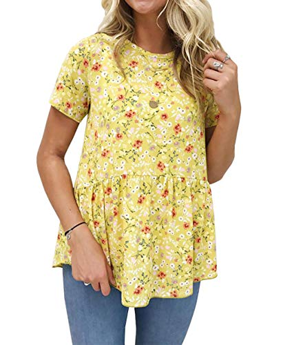 BTFBM Women Crew Neck Floral Short Sleeve Ruffle Asymmetric Hem Shirt Tunic Top Blouse (Yellow, Small)