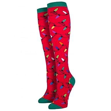 Amazon.com: Sock Smith Womens Christmas Lights Knee High Socks-Red ...