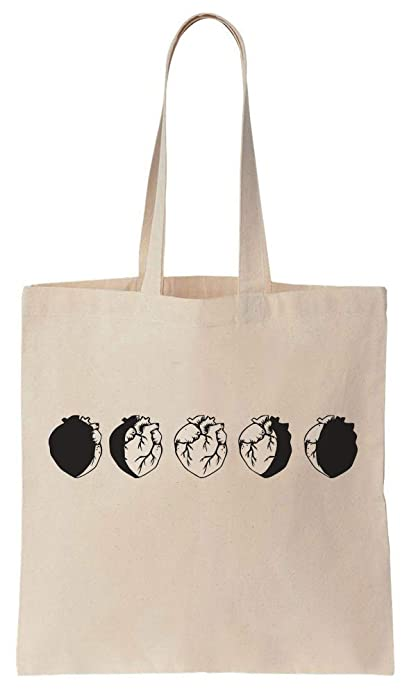 f0f23af2a Heart Phases Like A Moon Cotton Canvas Tote Bag: Amazon.es: Zapatos y  complementos