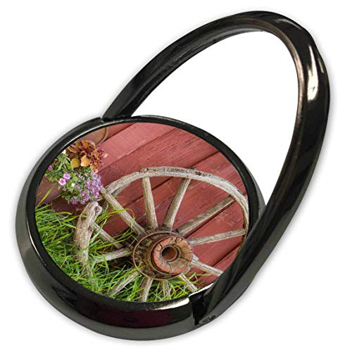 (3dRose Danita Delimont - Farms - Vintage Wagon Wheel and Flowers Against a red barn. - Phone Ring (phr_313015_1))