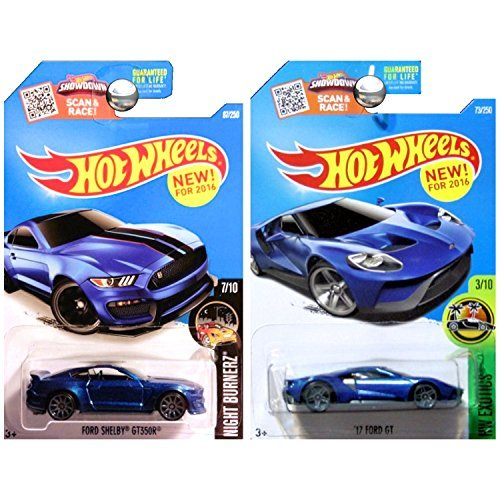 - Hot Wheels '17 Ford GT and Ford Mustang Shelby GT350 GT350R in Blue SET OF 2