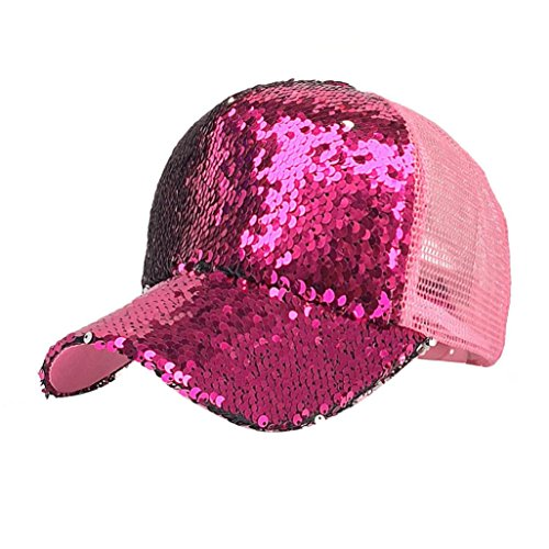 Goddessvan 2018 Women Ponytail Baseball Cap Sequins Shiny Messy Bun Snapback Hat Mesh Caps (Hot Pink)