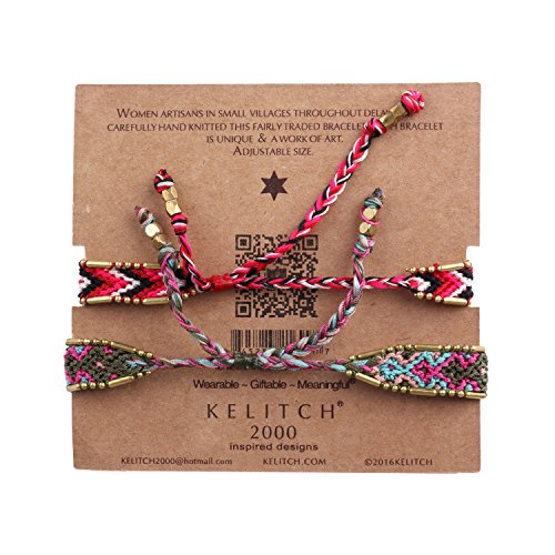 KELITCH Handmade Macrame Colour Candy Wide Bohemia Woven Friendship Bracelet Fashion New Jewelryn (Green Red 01B) by KELITCH (Image #2)