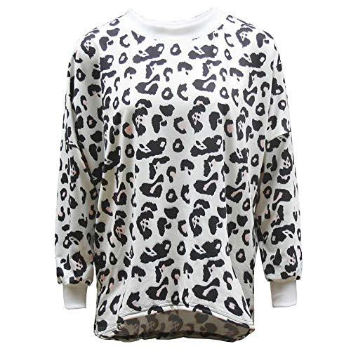 435869c31964 Orangeskycn Women Sweater Pullover Long Sleeve Leopard Print Loose O Neck Casual  Shirt